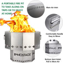 INNO STAGE Stainless Bonfire Fire Pit with Portable Carrying Storage Bag, Smoke-Free Firepit Bowl for Wood Pellet with Stand for Outdoor Campfire Flame or BBQ on Patio Garden Backyard - BUZOK
