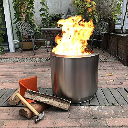 Hi-Flame Bonfire Stove Fire Pit 20.5 Inches All Stainless Steel Heavy Duty Outdoor Smokeless Firepit with Lid Portable Backyard Natural Wood Burning Firebowl, Silver Color - BUZOK