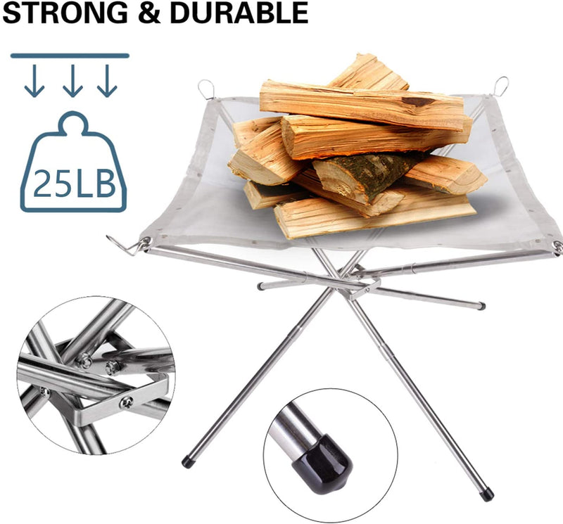 SUCHDECO Portable Outdoor Fire Pit - 2020 New Upgrade, 22 Inch Camping Stainless Steel Mesh Fireplace, Ultra Foldable Fire Pit for Patio, Camping, Barbecue, Backyard and Garden - BUZOK