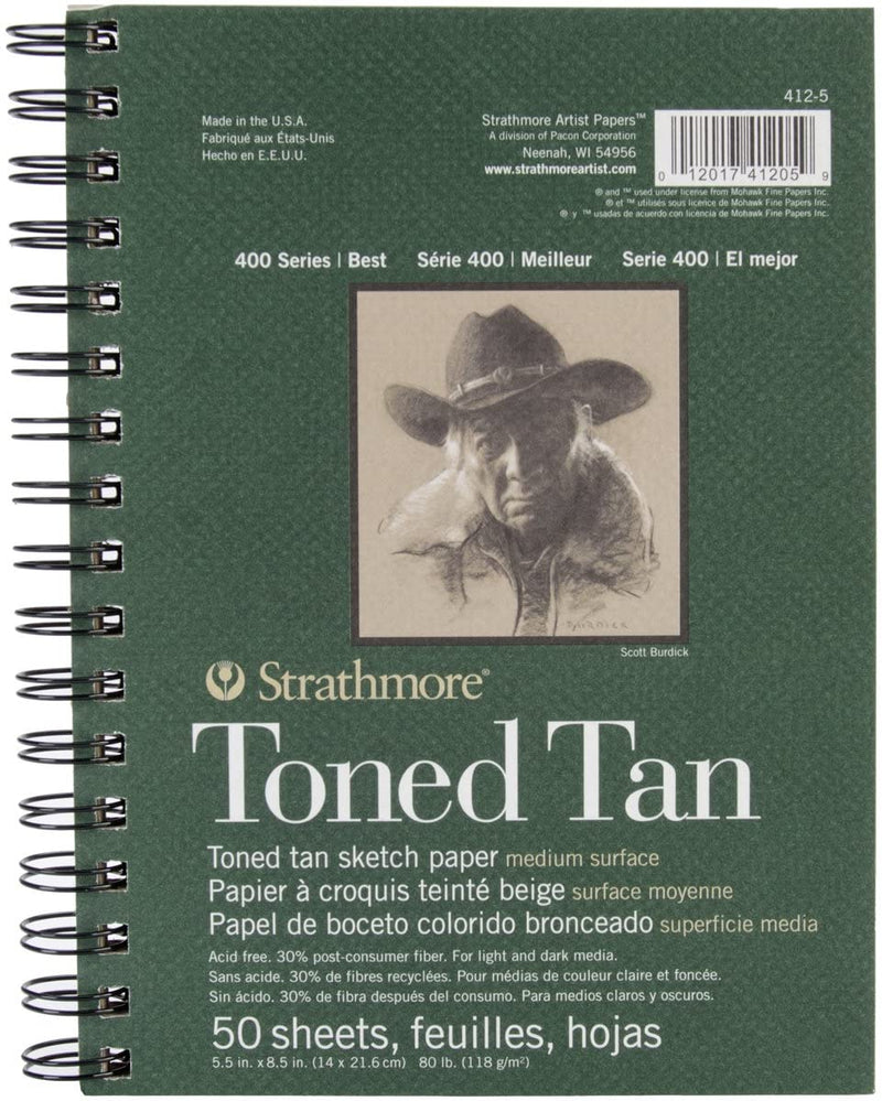 "Strathmore Tan Drawing 400 Series Toned Sketch Pad, 5.5""x8.5"", 50 Sheets - BUZOK"