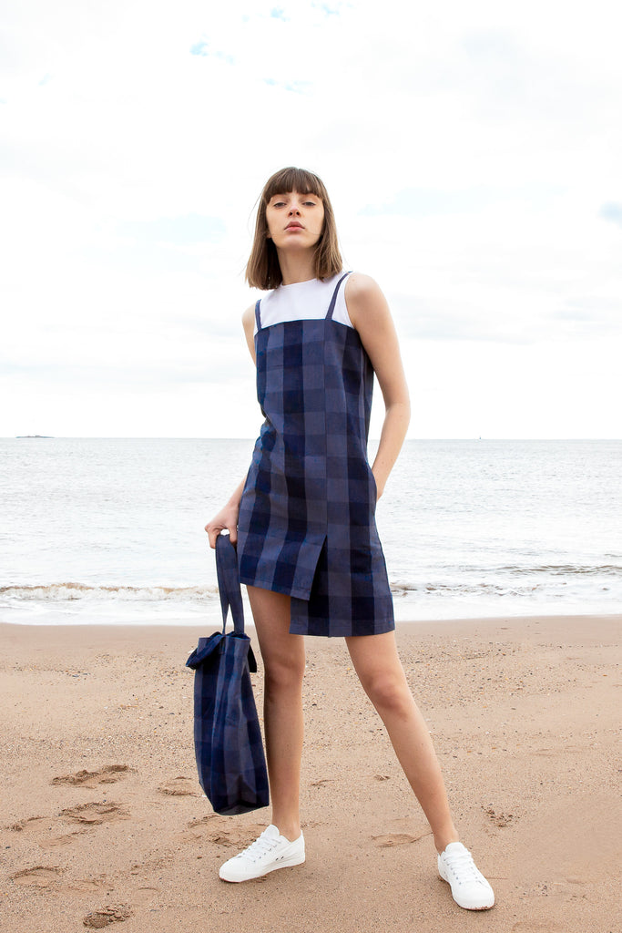2019 hher studios asymmetric slip dress checked blue