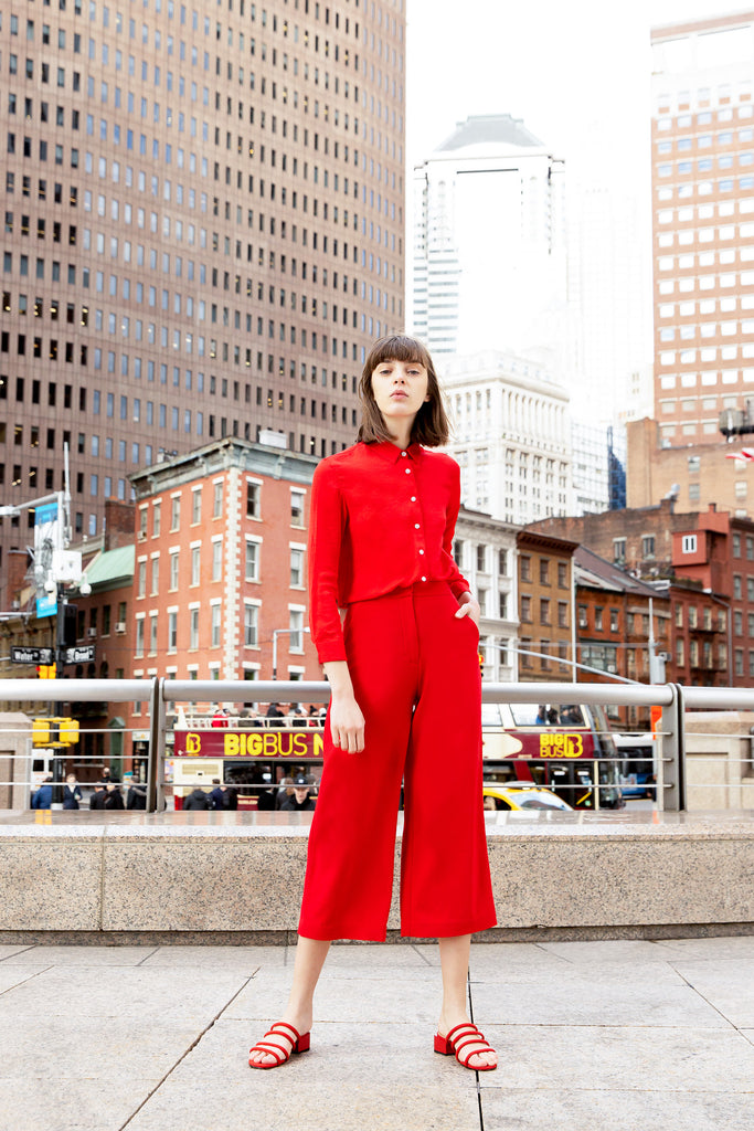 2019 hher studios straight fit button down shirt wide leg trousers red
