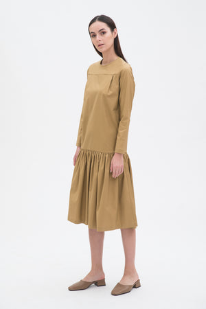 Gathered Mid Length Dress