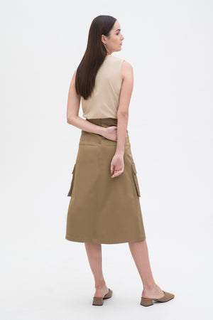 Double Pocket Mid Length Skirt
