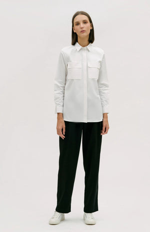 hher studios nature utilitarian long sleeve shirt white cotton pleat detail trousers black