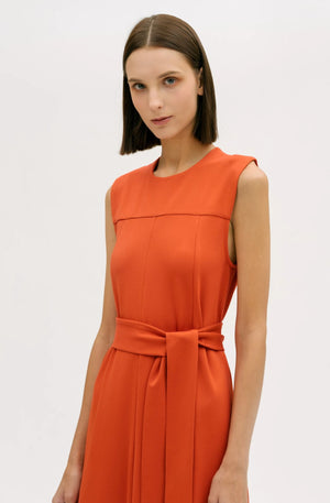 Seam Detail Belted Dress