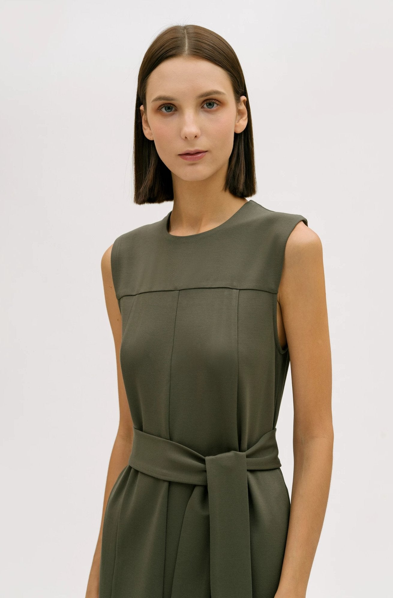 hher studios nature seam detail sleeveless belted dress dusty olive