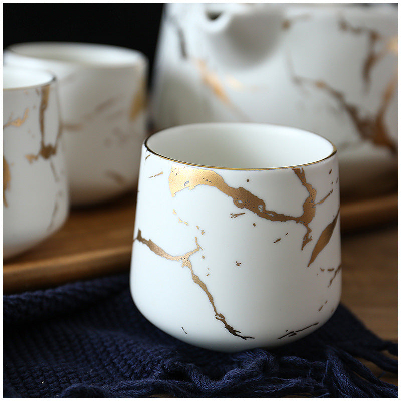 Ceramic - Tea Set - White Matte Marble with Gold Inlay + 4 Mugs with Wooden Tray & Tea Pot