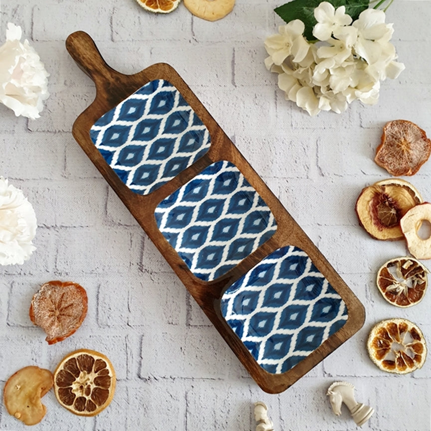BLUE & WHITE IKAT COLLECTION 3-PART BAT SHAPED PLATTER