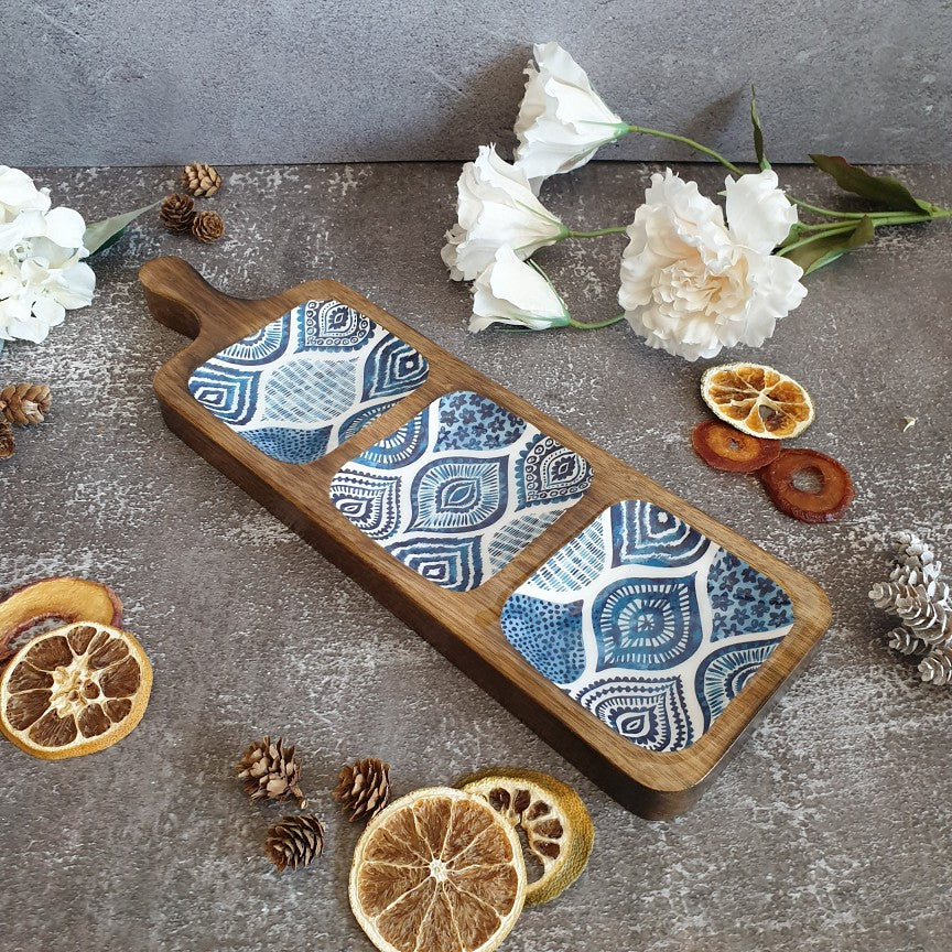 BLUE MANDALA COLLECTION 3-PART BAT SHAPED PLATTER