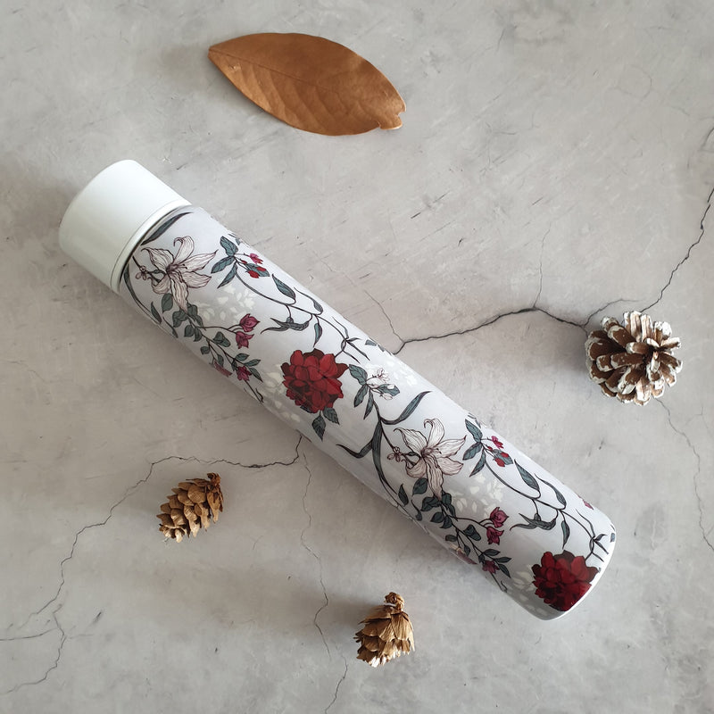 GRAY RED BLOSSOM INSULATED DOUBLE-WALLED STAINLESS STEEL SLIM BOTTLE