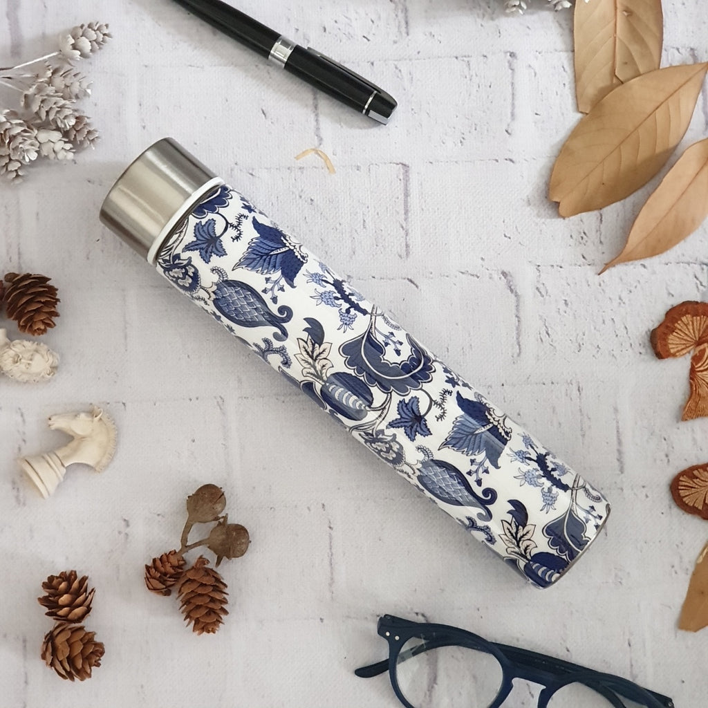 Insulated Slim Bottle - Blue and White Acorn