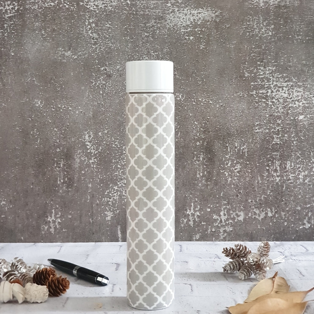 INSULATED SLIM BOTTLE - GRAY WITH WHITE QUARTERFOIL
