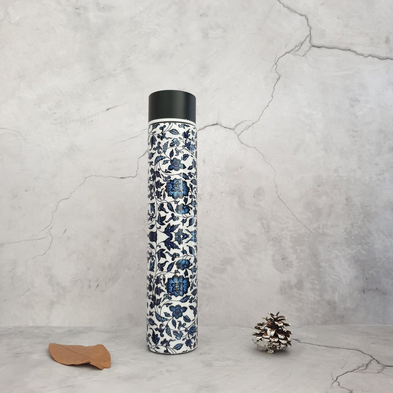 INDIGO BLUE FLORAL INSULATED DOUBLE-WALLED STAINLESS STEEL SLIM BOTTLE