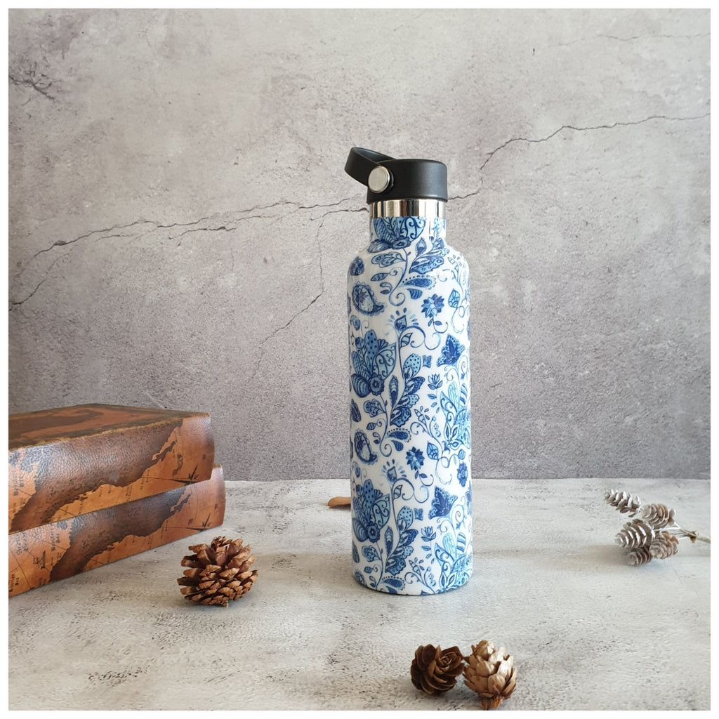 INSULATED BOTTLE, 750ml - HANDLE LOOP - WATER LILY
