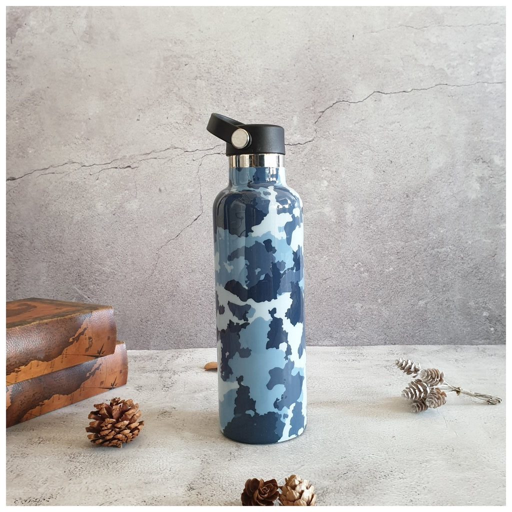 INSULATED BOTTLE, 750ml - HANDLE LOOP - CAMO BLUE