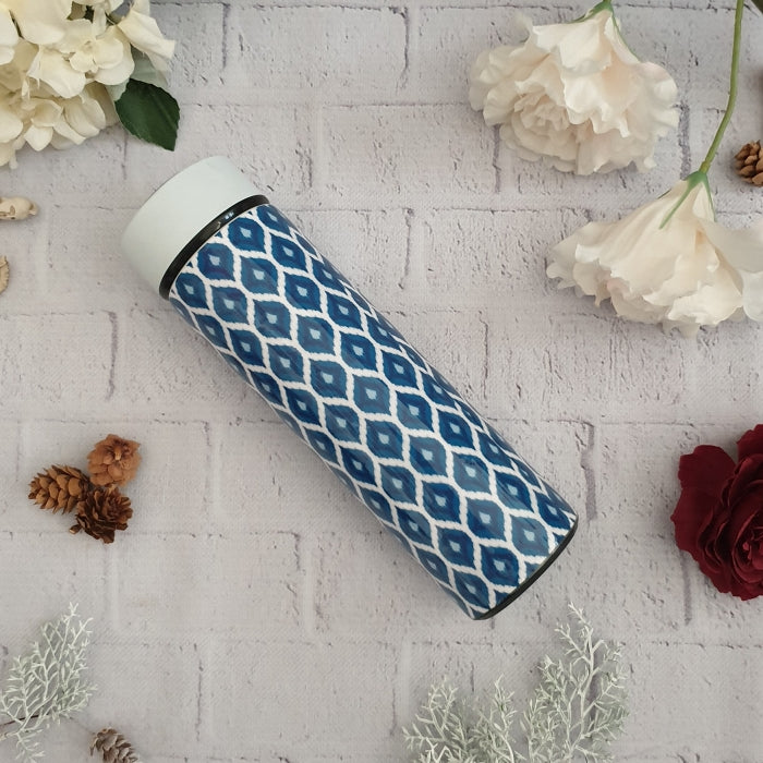 BLUE IKAT THEMED INSULATED DOUBLE-WALLED STAINLESS STEEL SWEAT BOTTLE
