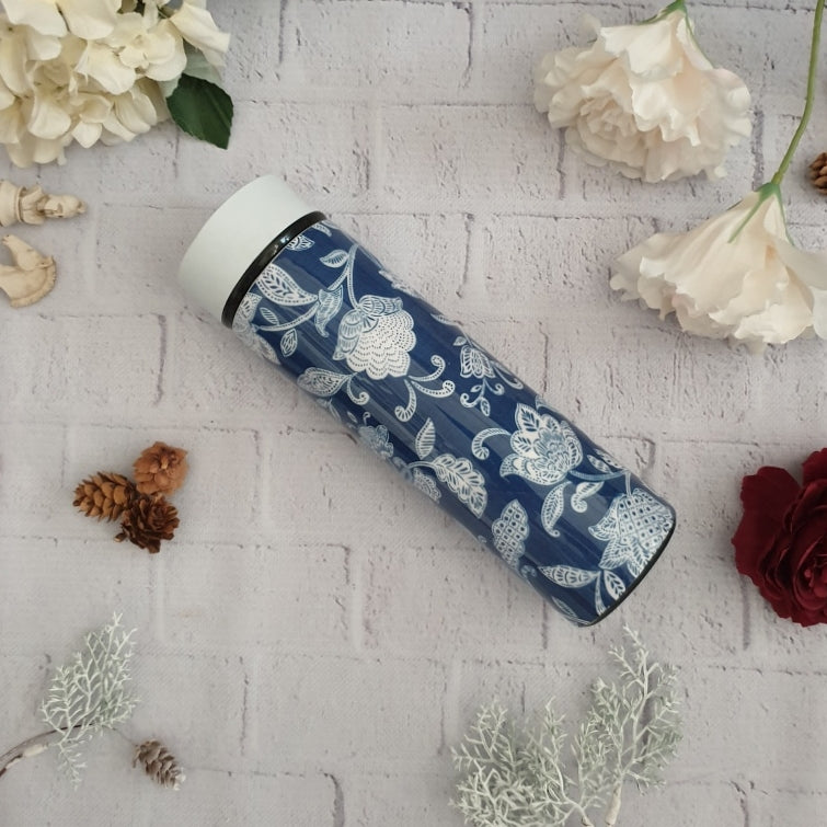 COTTON BLUE THEMED INSULATED DOUBLE-WALLED STAINLESS STEEL SWEAT BOTTLE