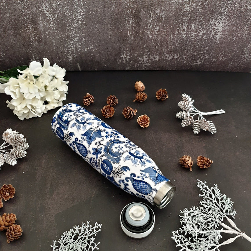 Blue & White Acorn Themed Insulated Double-Walled 500ML Bottle