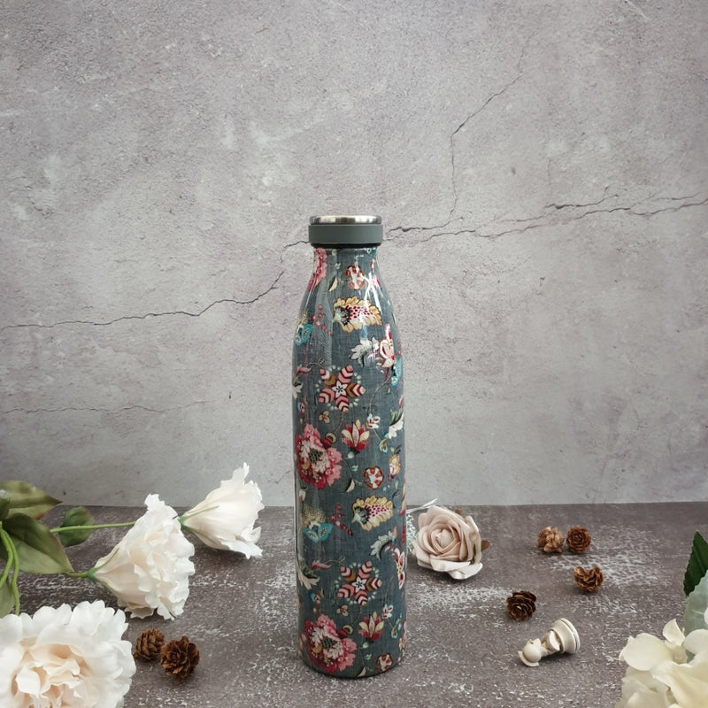 OLIVE GREEN THEMED INSULATED DOUBLE-WALLED STAINLESS STEEL TALL BOTTLE