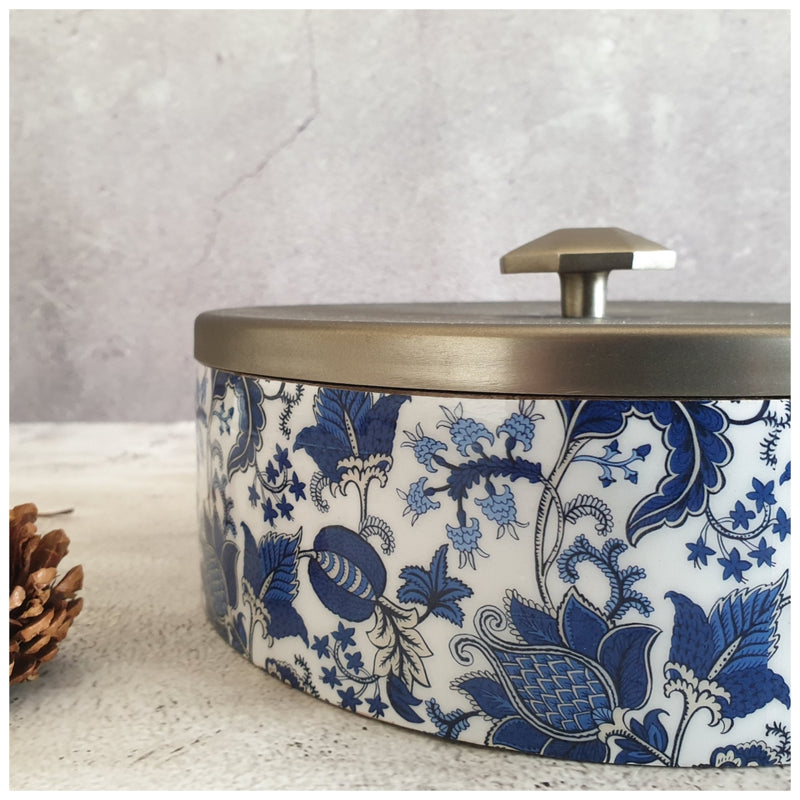 Roti Box - Blue & White Acorn