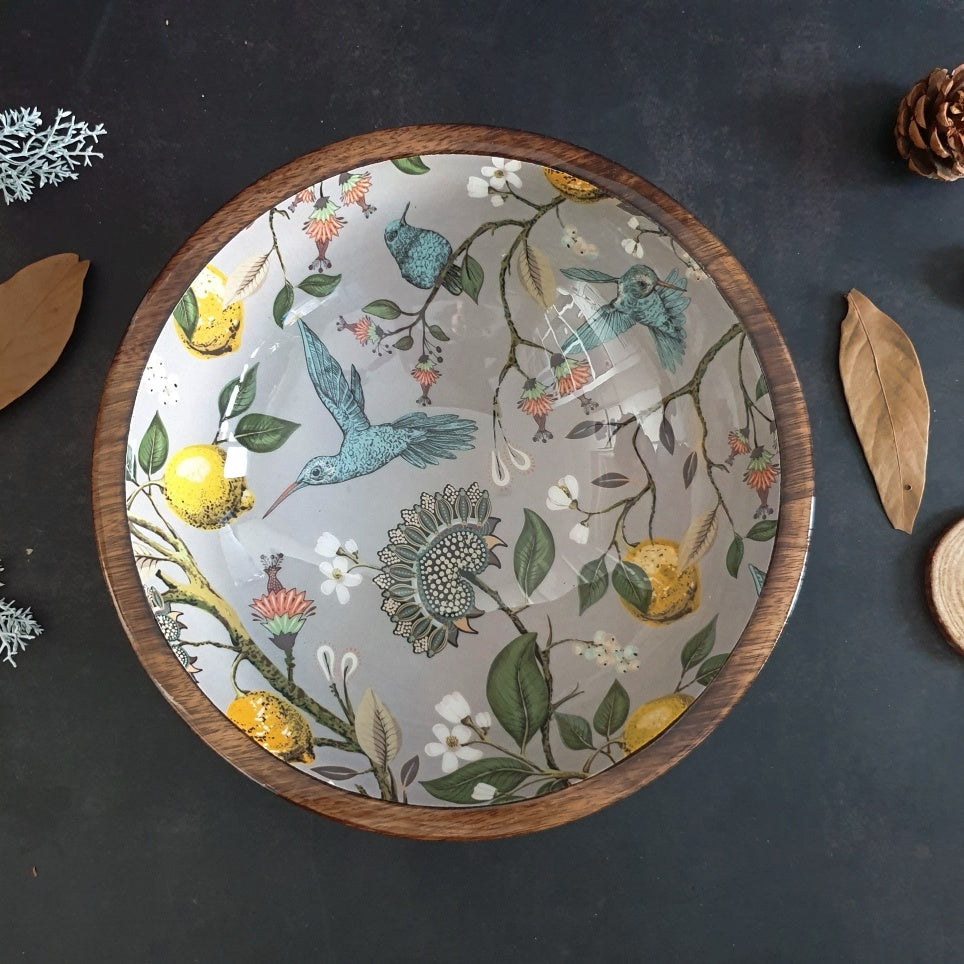 Wooden Serving Bowl, Multi-Purpose - Humming Bird