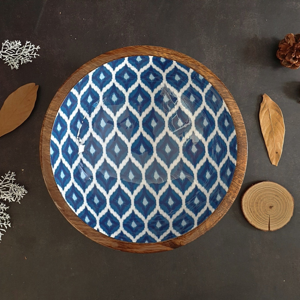 Wooden Serving Bowl, Multi-Purpose - Blue & White Ikat