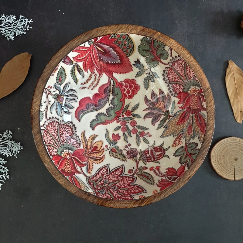Wooden Serving Bowl, Multi-Purpose - Kalamkari