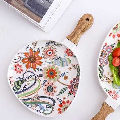 Ceramic - Floral Printed - Wooden Handle Drip Platter (Medium)