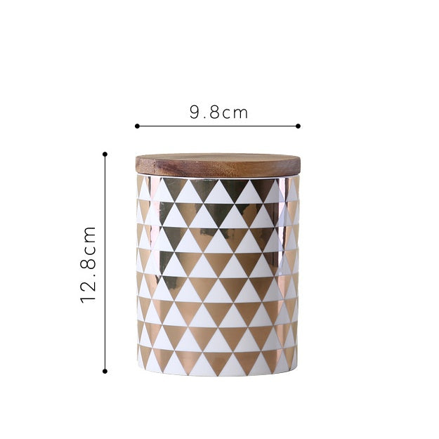Ceramic - Storage Jar - Small Golden Triangle Theme