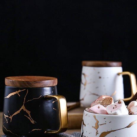 Ceramic Black Matte Marble Platter with Gold Inlay + 2 Matching Coffee Mug with Wooden Lid