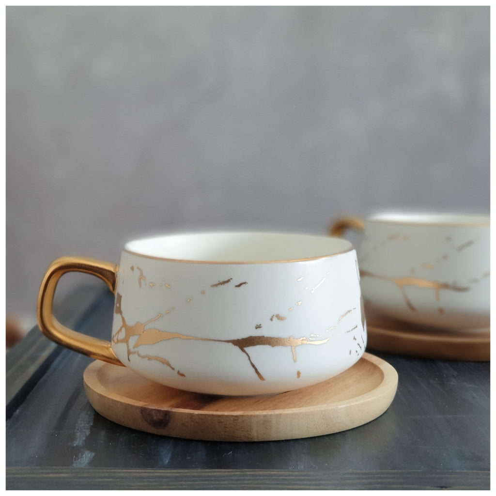 Ceramic White Matte Marble Platter with Gold Inlay + 2 Matching Coffee Mug with Wooden Saucer