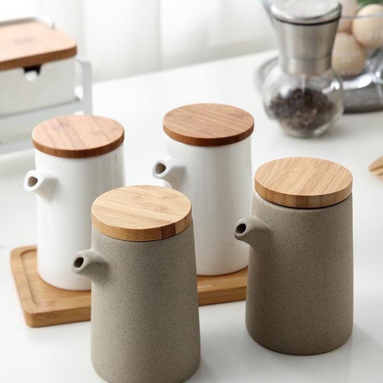 Oil Bottle (Spout) with Wooden Lid - Set of 2 bottles + Tray