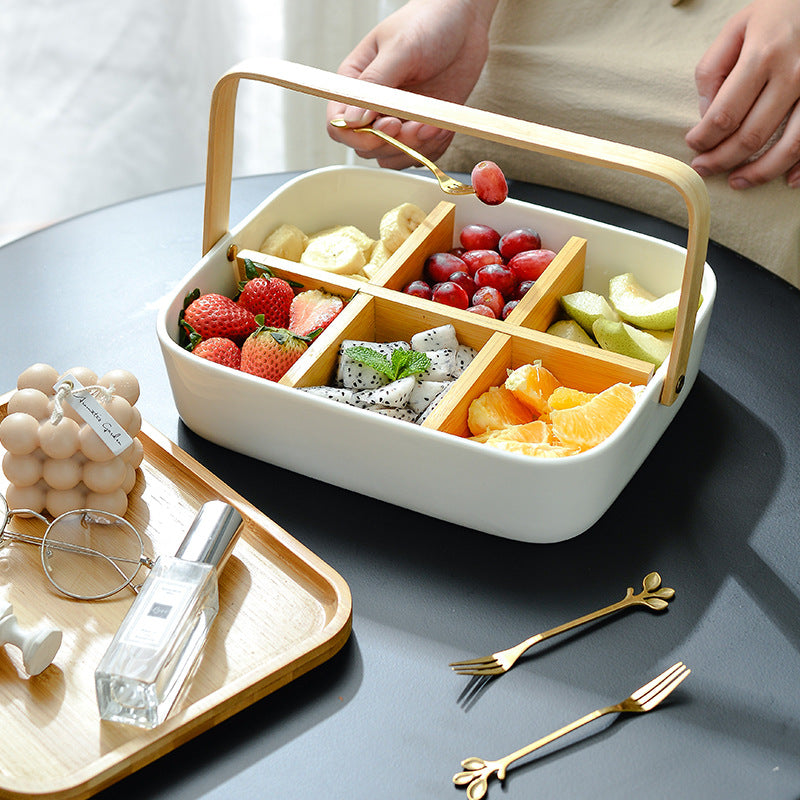 Ceramic - Snack Bowl with Bamboo Lid
