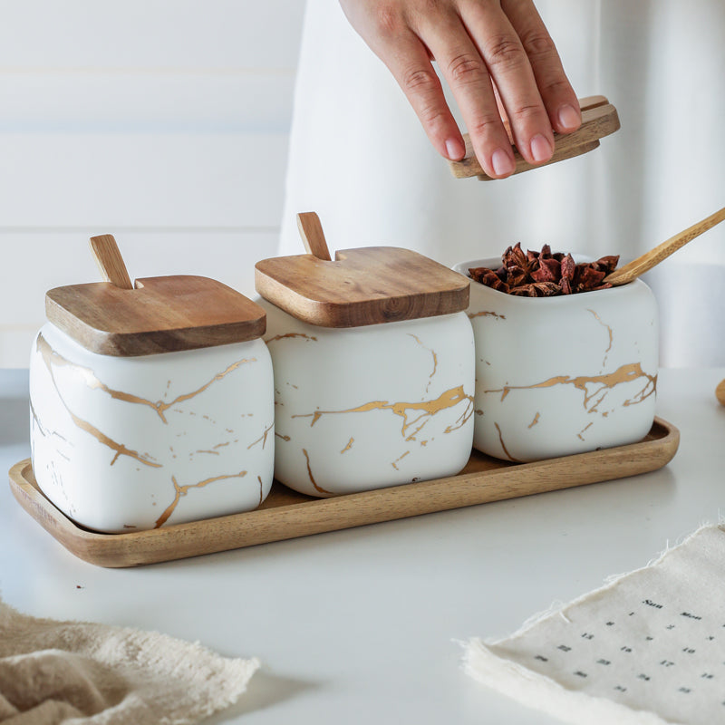 Ceramic - Spice Set - White Matte Marble with Gold Inlay - 3 Jars with Wooden Tray