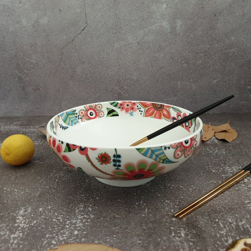 Ceramic - Floral Printed - Salad bowl