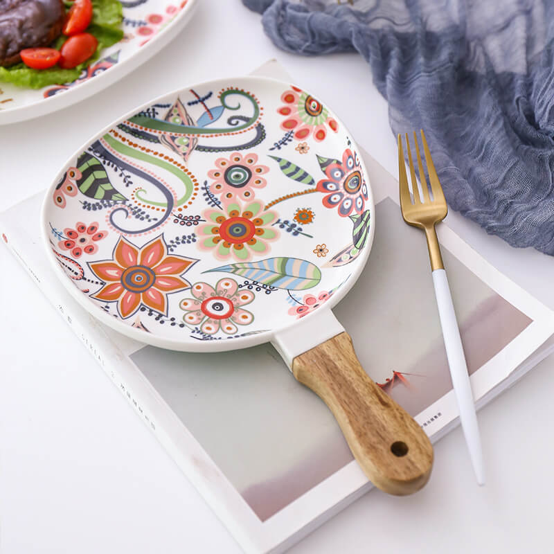 Ceramic - Floral Printed - Wooden Handle Drip Platter (Large)