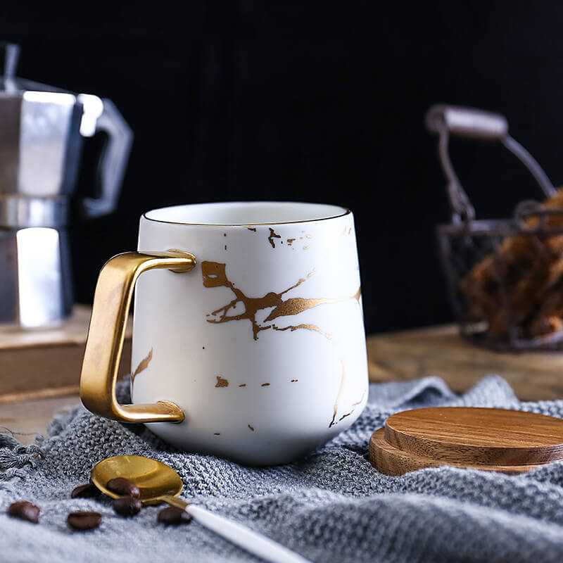 Ceramic White Matte Marble Platter with Gold Inlay + 2 Matching Coffee Mug with Wooden Lid