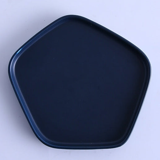 Cascade Cobalt Blue Ceramic - Pentagon Platter with Bowl