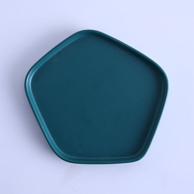 Envy Collection Green Ceramic- Pentagon Platter with Bowl