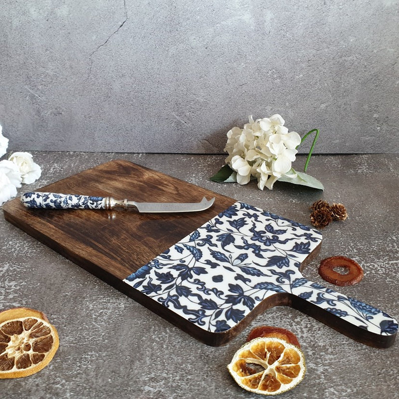 CHINESE BLUE COLLECTION CHEESE BOARD & KNIFE SET