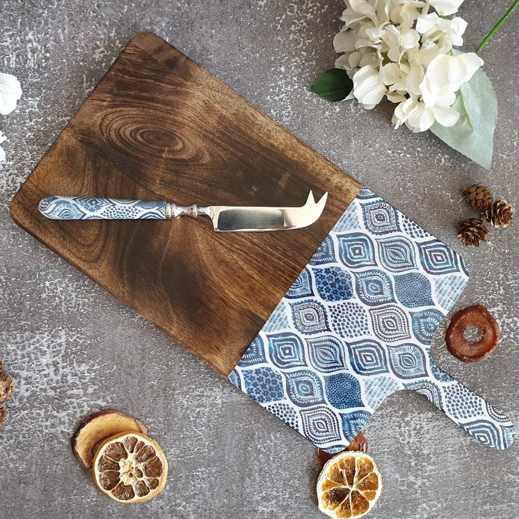 PALM MANDALA COLLECTION CHEESE BOARD & KNIFE SET