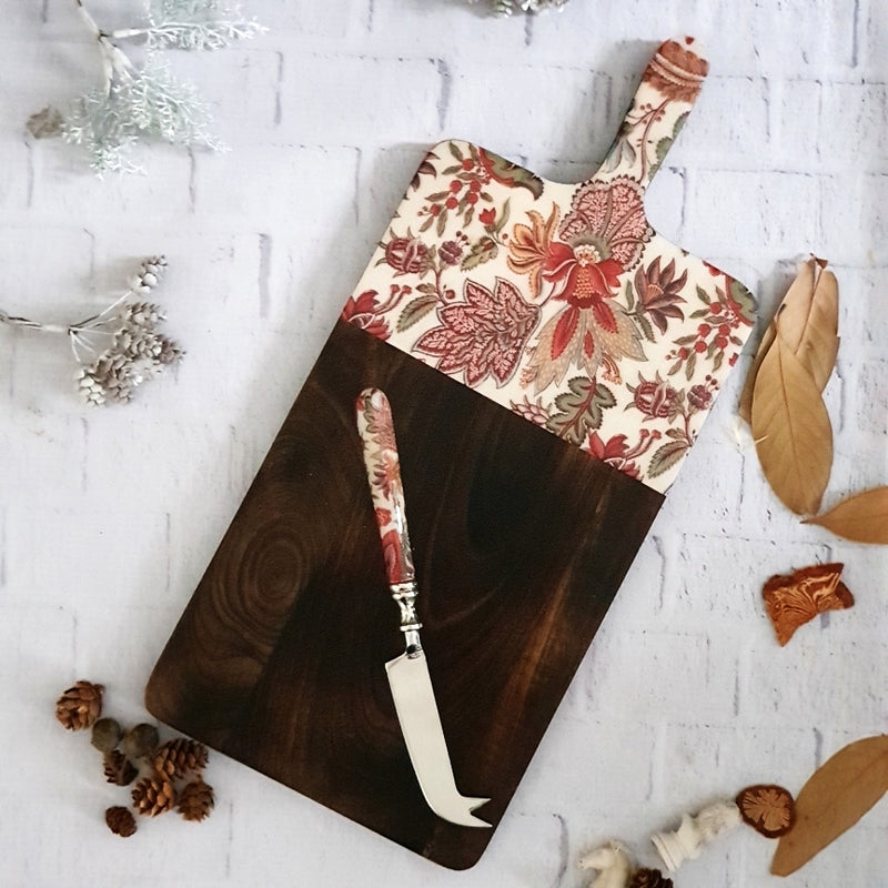 KALAMKARI CHEESE BOARD WITH MATCHING KNIFE