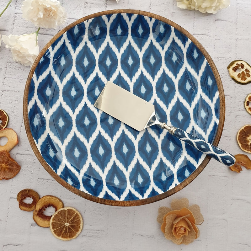 Blue Ikat Cake Stand with Server Set (Large)