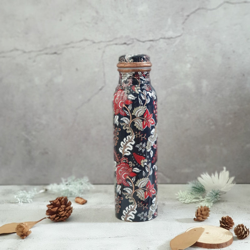 Copper Bottle 950 ml - Dark Blue Floral