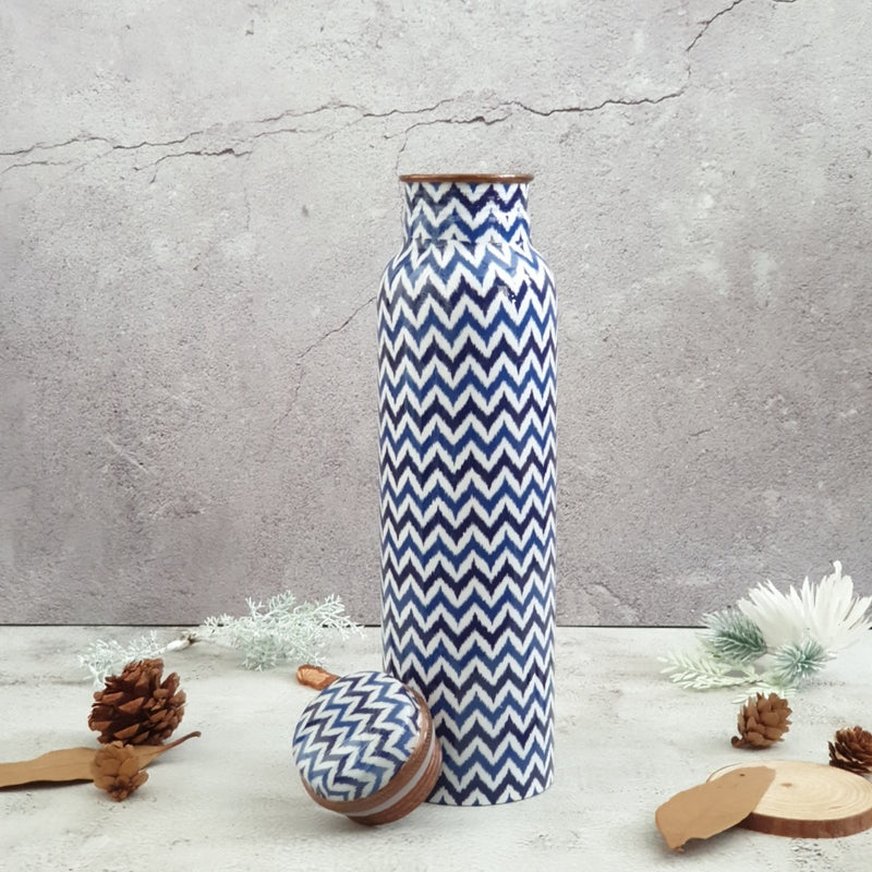 Blue & White Chevron Copper Bottle