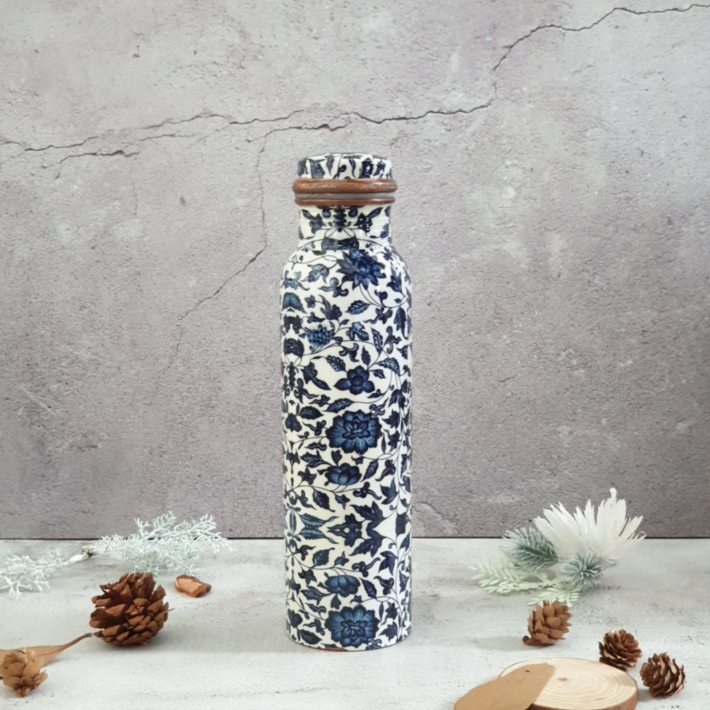 Chinese Blue Floral Copper Bottle