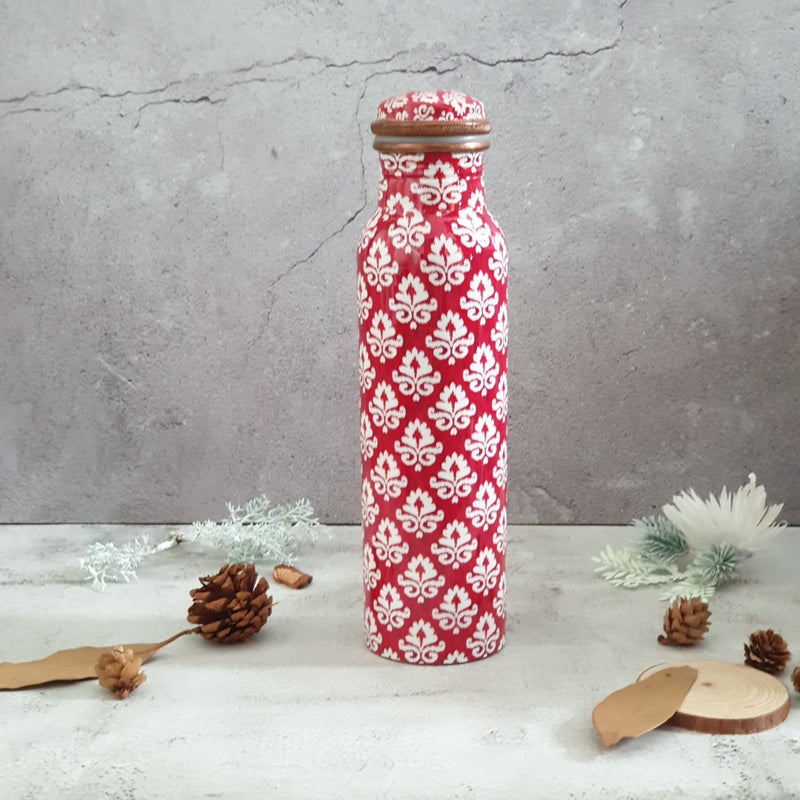 Red & White Ikat Floral Copper Bottle