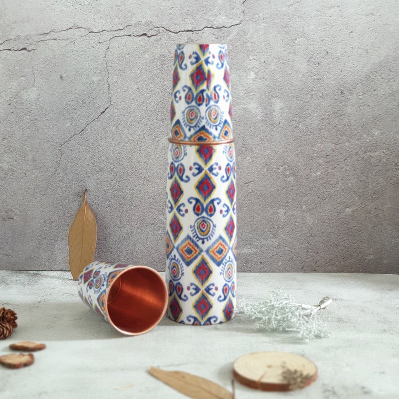 COPPER BOTTLE SET WITH 2 GLASSES, TRIBAL IKAT