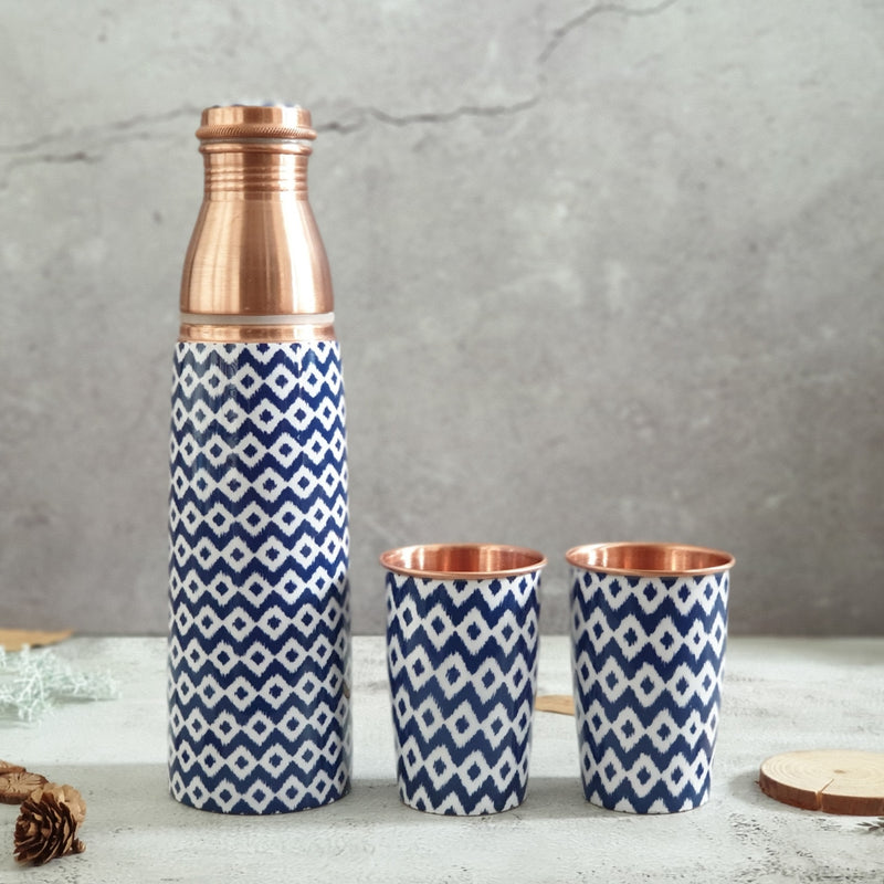 COPPER BOTTLE SET WITH 2 GLASSES, BLUE WAVE
